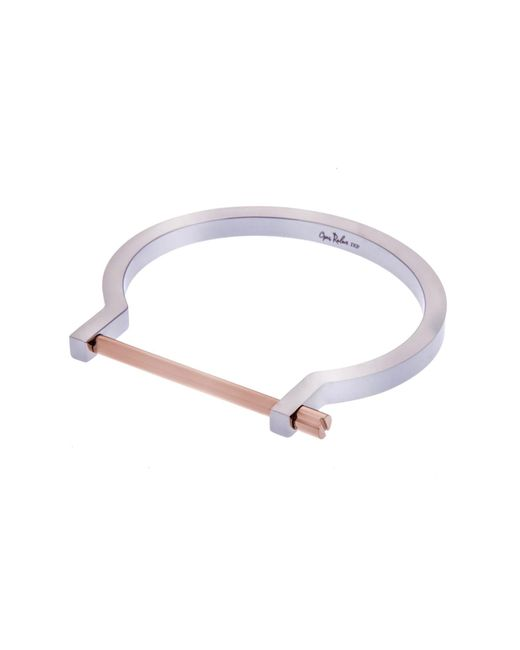 Opes Robur - Metallic Silver & Rose Gold Classic Screw Cuff Bracelet - Lyst