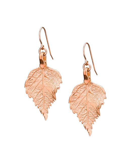 Chupi - Metallic Tiny Raspberry Leaf Earrings Rose Gold - Lyst