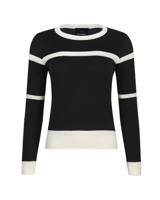 NY CHARISMA - Black & White Two Tone Knit Sweater With Textured Checker Pattern - Lyst