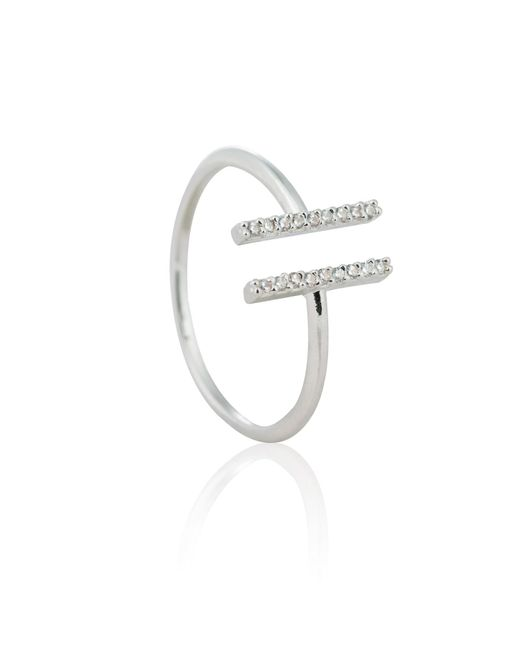 Astrid & Miyu - Metallic Chase Me Double Bar Ring In Silver - Lyst