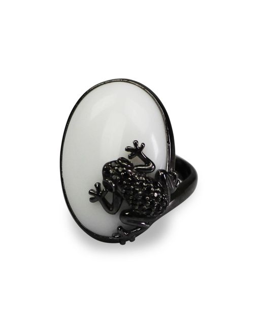 Bellus Domina - White The Prince Frog Cocktail Ring - Lyst