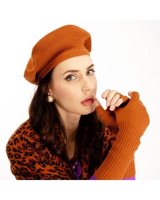 ad7ada0841051 Asneh Brown Silk Cashmere Beret   Fingerless Gloves Set in Brown - Lyst