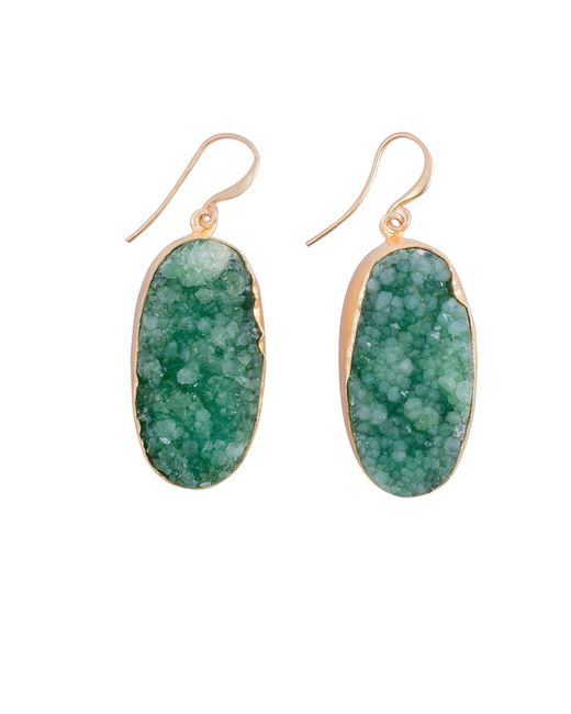 Magpie Rose | Green Raw Druzy Earrings | Lyst