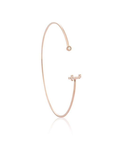 Astrid & Miyu | Multicolor Rose Gold Initial 't' Bangle | Lyst