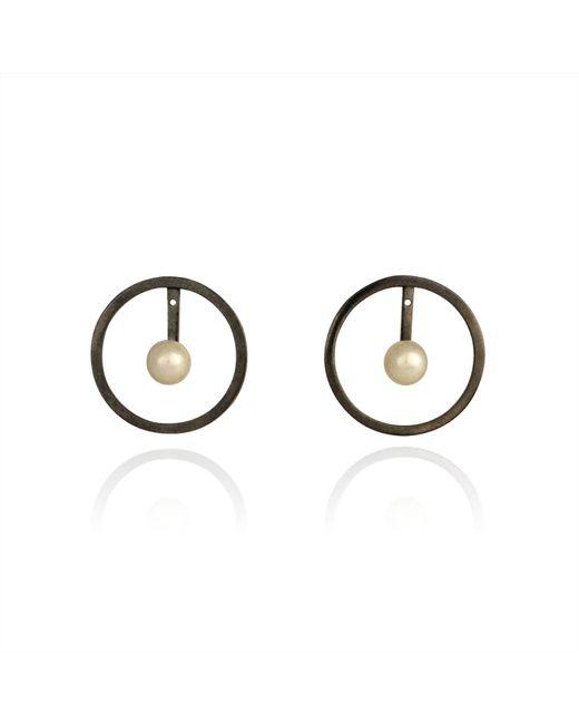Cara Tonkin   Black Orbit Halo Front & Back Earrings Oxidised Silver   Lyst