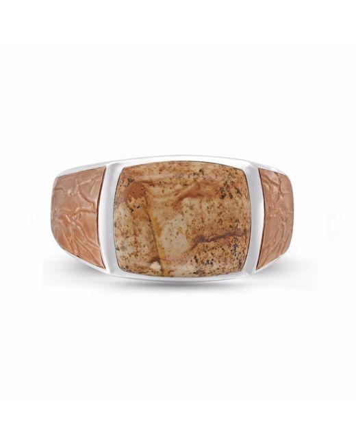 LMJ - Light Brown Picasso Jasper Stone Ring for Men - Lyst
