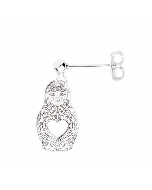CarterGore - Metallic Silver Russian Doll Single Short Drop Earring - Lyst