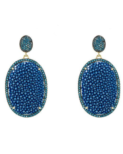 Latelita London - Stingray Pave Oval Earring Royal Blue - Lyst