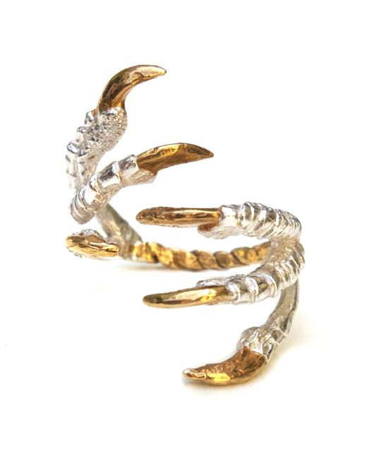 Tessa Metcalfe | Metallic Pigeon Grasp Ring With Gold Nails | Lyst