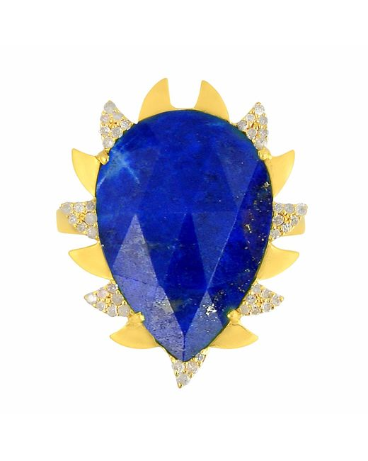 Meghna Jewels | Multicolor Claw Ring Lapis & Diamonds | Lyst