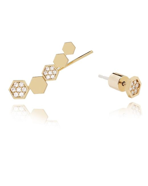 Astrid & Miyu   Metallic Black Magic Hexagon Earrings In Gold   Lyst