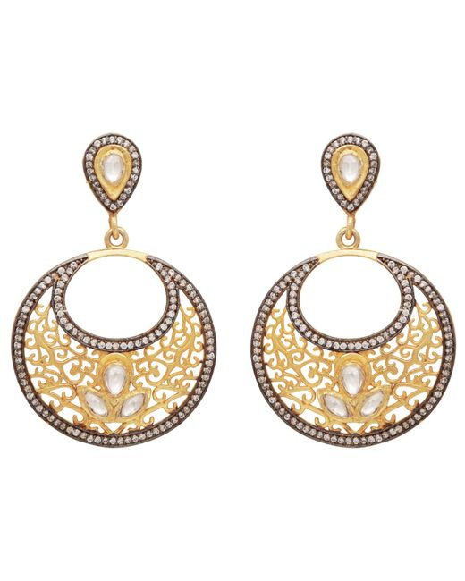 Carousel Jewels - Metallic Gold & Crystal Antique Dangle Earrings - Lyst