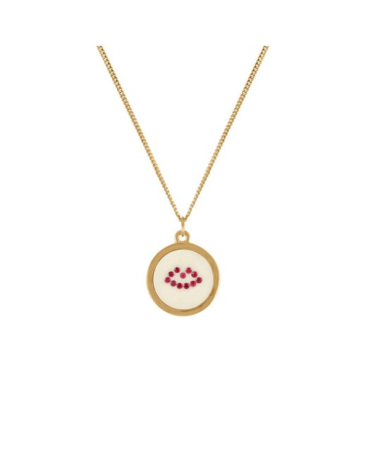 Lee Renee - Red Ruby Lip Pendant Necklace - Lyst
