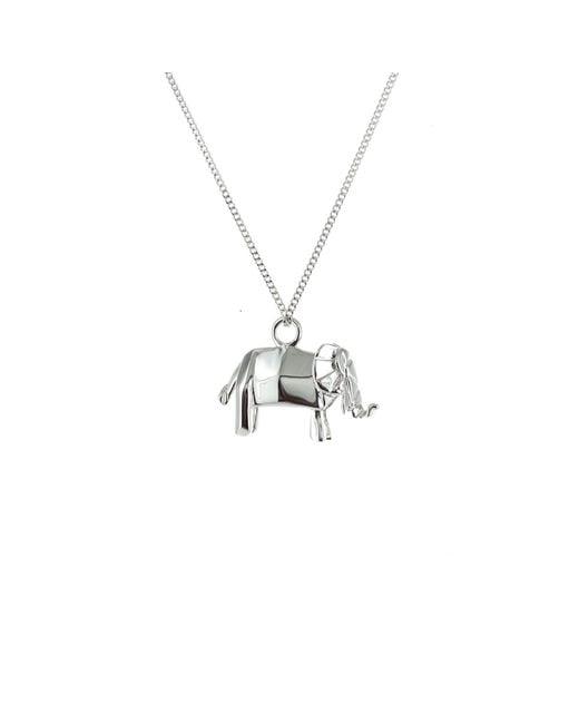 Origami Jewellery   Metallic Mini Elephant Necklace Silver   Lyst