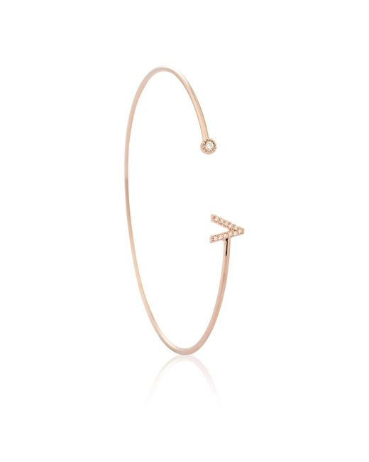 Astrid & Miyu - Multicolor Rose Gold Initial 'v' Bangle - Lyst