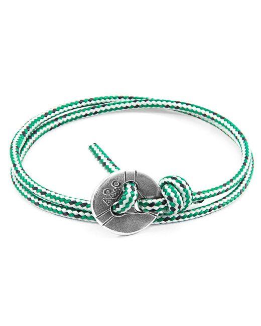 Anchor & Crew - Multicolor Green Dash Lerwick Silver & Rope Bracelet for Men - Lyst
