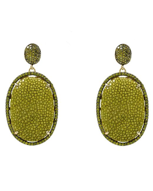 Latelita London - Green Stingray Pave Oval Earring Kiwi - Lyst