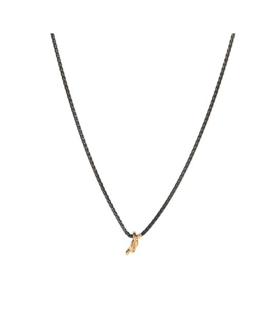 Dutch Basics - Black Silver Necklace With Gold Plated Knot Pendant - Lyst