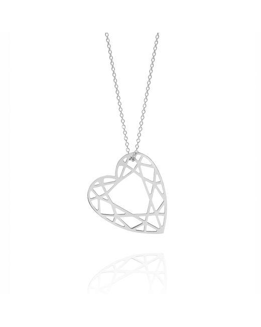 Myia Bonner - Metallic Silver Heart Diamond Necklace - Lyst