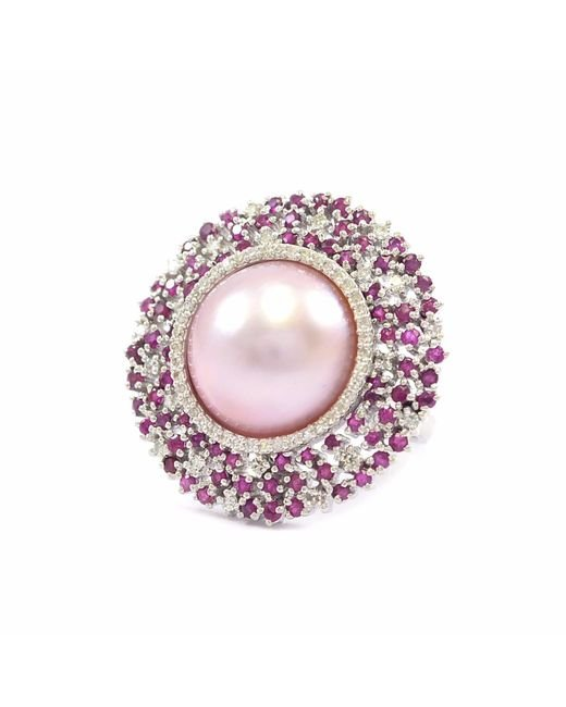 Ri Noor | Pink Pearl With Ruby & Diamond Ring | Lyst