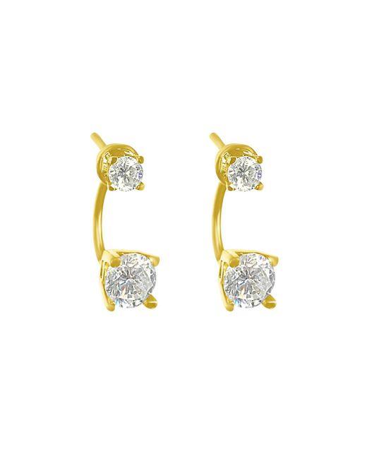 Talia Naomi | Metallic Diamond Drop Ear Jacket Studs | Lyst