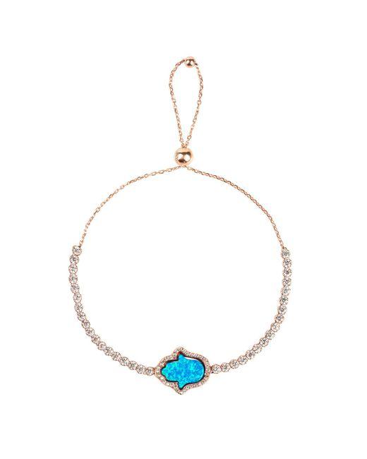 Latelita London | Metallic Hamsa Blue Opalite Hamsa Zip Tennis Bracelet Rosegold | Lyst