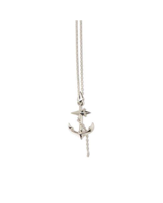 Kasun - Metallic Black Sea Silver Anchor Pendant - Lyst