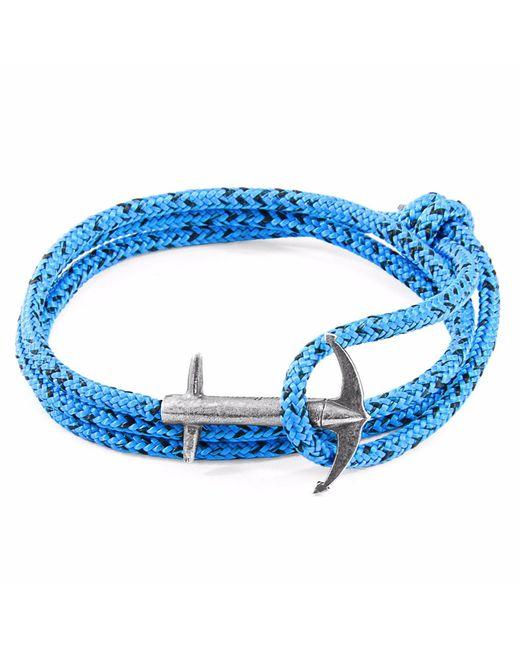 Anchor & Crew | Blue Noir Admiral Silver & Rope Bracelet for Men | Lyst