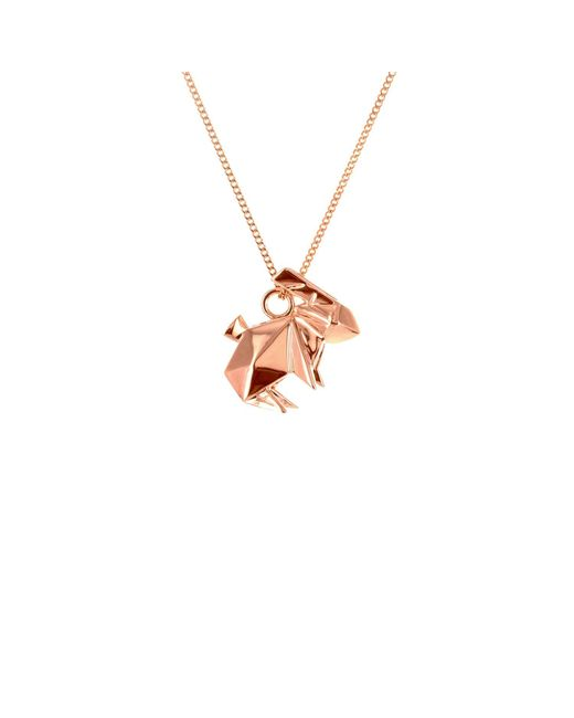 Origami Jewellery - Metallic Sterling Silver & Pink Gold Mini Rabbit Origami Necklace - Lyst