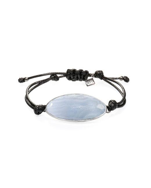 Ona Chan Jewelry | Lattice Corded Bracelet Blue Lace Agate | Lyst