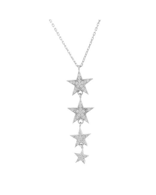 Latelita London - Metallic Sterling Silver Graduated Star Drop Necklace - Lyst
