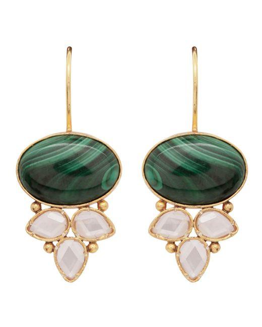 Carousel Jewels - Green Malachite & Crystal Drop Earrings - Lyst