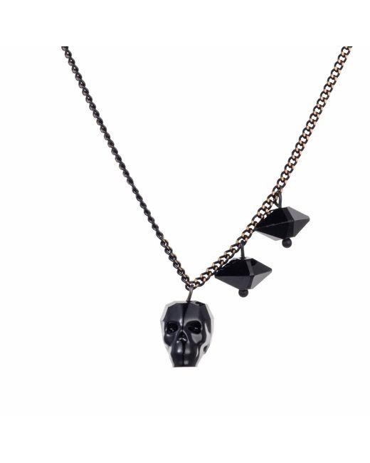 Nadia Minkoff - Black Crystal Skull & Double Spike Necklace Jet - Lyst
