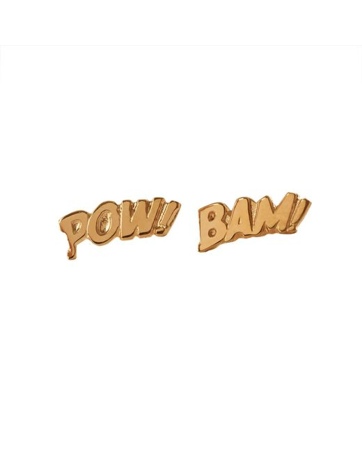 Edge Only - Metallic Pow And Bam Letter Earrings In Gold - Lyst