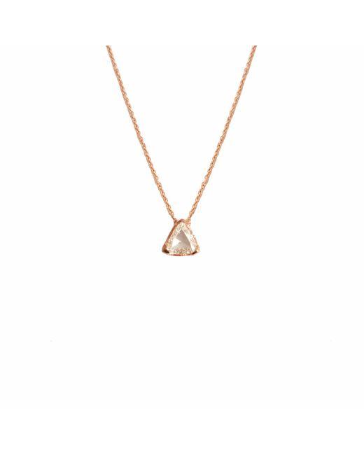 Ri Noor - Metallic Trillion Rose Cut Diamond Pendant Rose Gold Necklace - Lyst