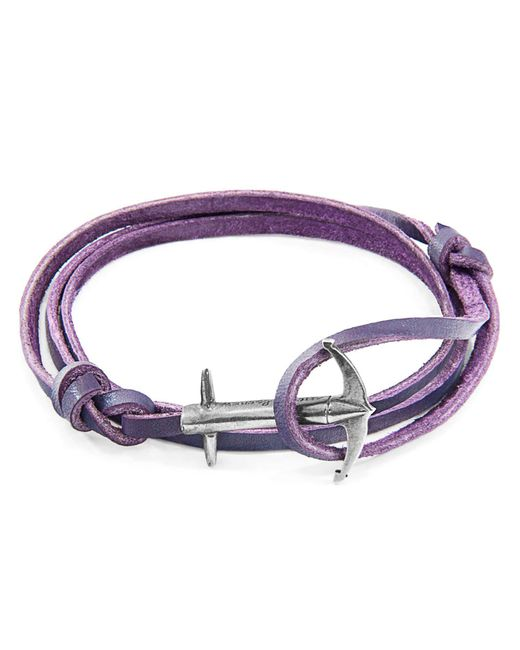 Anchor & Crew - Grape Purple Admiral Leather Bracelet for Men - Lyst