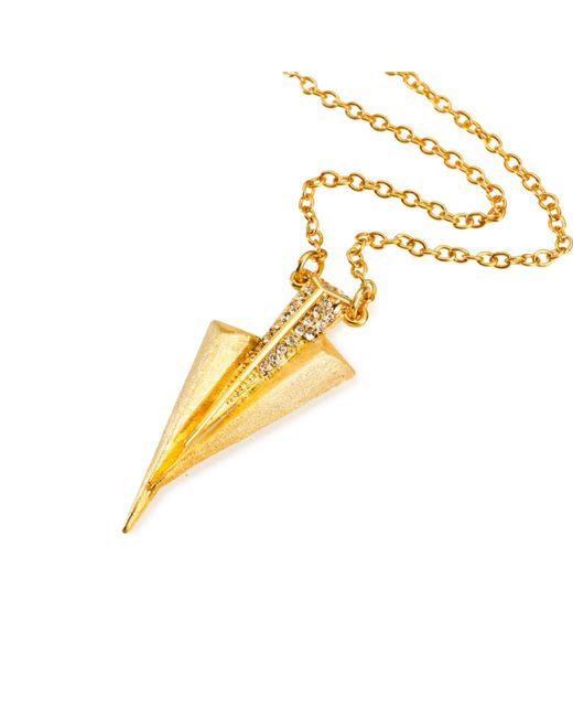 Ona Chan Jewelry | Metallic Three Dagger Necklace Gold With Swarovski Crystals | Lyst