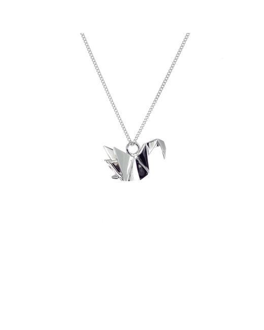 Origami Jewellery - Metallic Sterling Silver Mini Swan Origami Necklace - Lyst