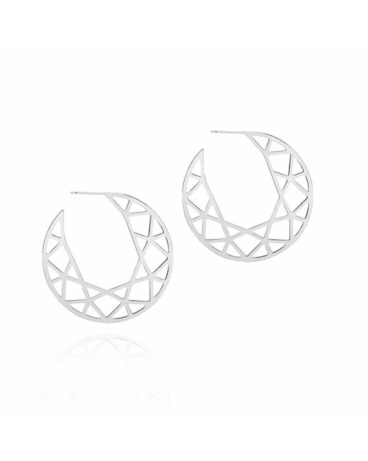 Myia Bonner - Metallic Silver Brilliant Diamond Hoop Earrings - Lyst