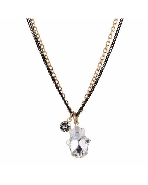 Nadia Minkoff | Metallic Crystal Hamsa Necklace Gold | Lyst
