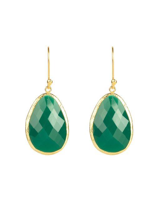 Latelita London - Single Drop Earring Gold Green Onyx - Lyst