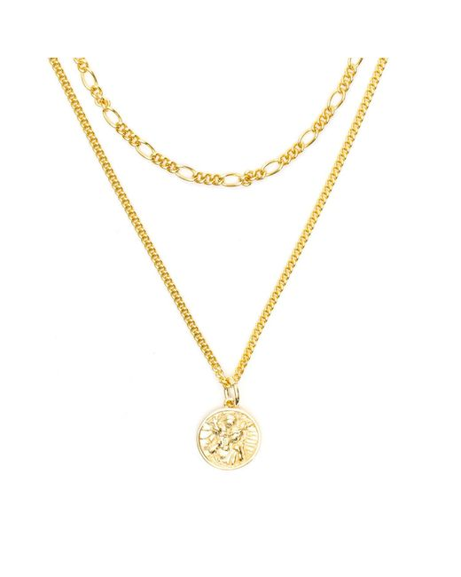 Serge Denimes - Metallic Gold St Christopher Multi Chain Necklace for Men - Lyst