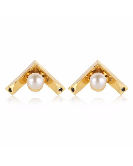 Sonal Bhaskaran | Metallic Kann Chevron Stud Earrings Gold | Lyst