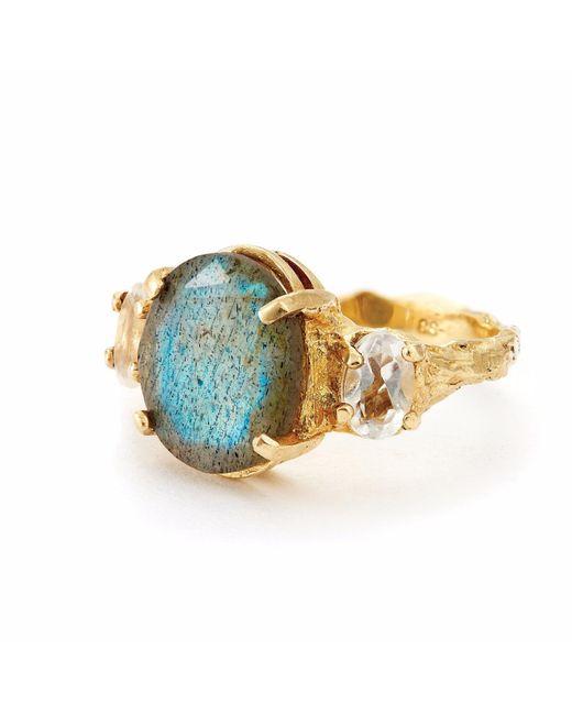 Chupi | Metallic Dew Drop In The Wild Gold Ring In Labradorite And Quartz | Lyst