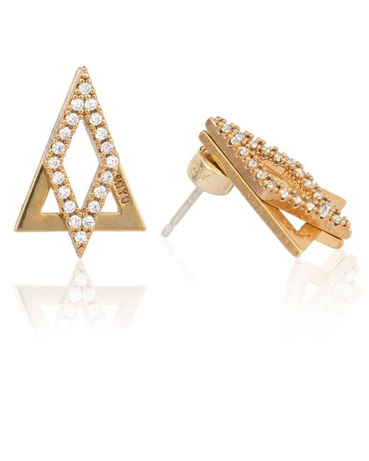 Astrid & Miyu - Metallic Diamond Ear Jacket In Gold - Lyst
