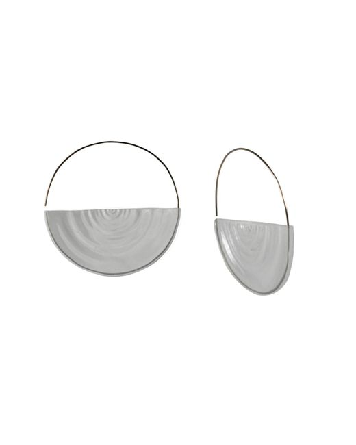 MARIE JUNETM Jewelry | Metallic Half Ripples Clear Hoops | Lyst