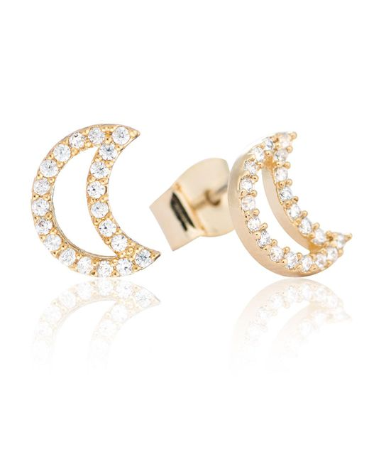 Astrid & Miyu | White Tricks Moon Stud Earrings Gold | Lyst