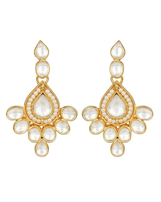 Carousel Jewels   Metallic Elegant Crystal & Pearl Drop Earrings   Lyst