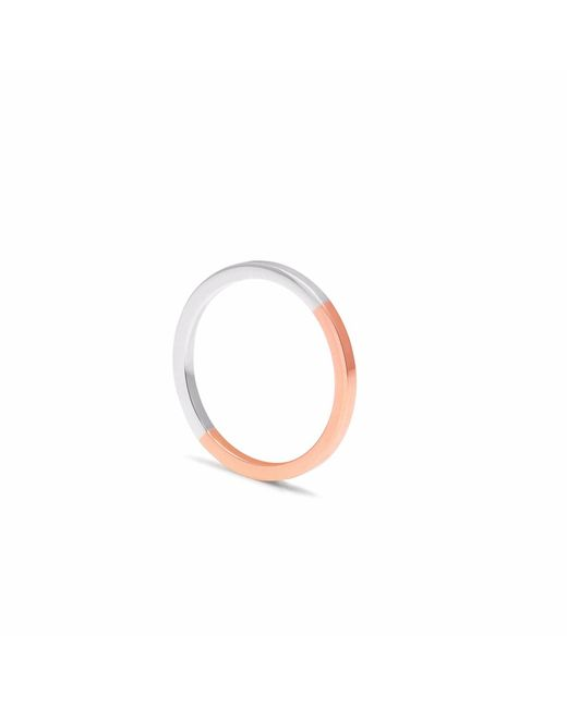 Myia Bonner   Metallic 9ct Rose Gold & Silver Square Stacking Ring   Lyst