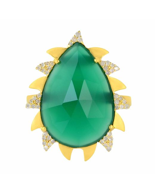 Meghna Jewels | Claw Ring Green Onyx & Diamonds | Lyst